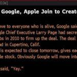 ダウ・ジョーンズ経済通信が誤ってGoogleがAppleを1兆円で買収と表示させてしまう